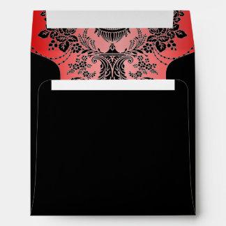 Red & Black Chandelier Damask Envelopes