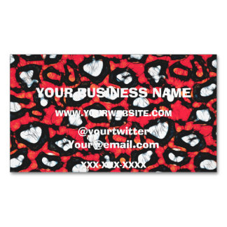 Red Black Cheetah Abstract Magnetic Business Card