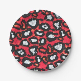 Red Black Cheetah Abstract Paper Plate