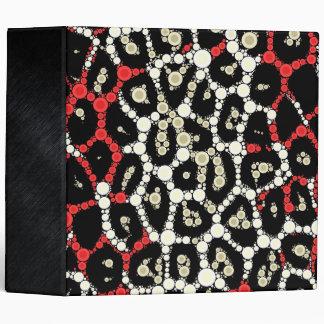 Red Black Cheetah Circle Abstract Binder