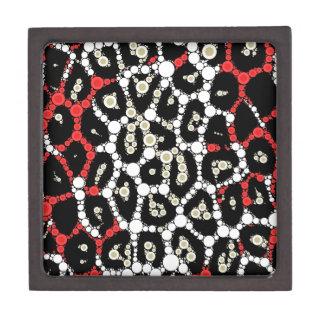 Red Black Cheetah Circle Abstract Jewelry Box