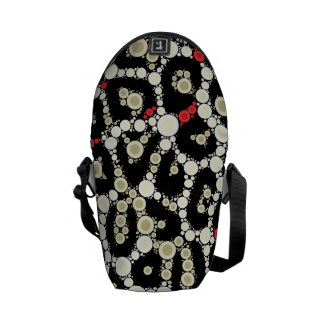 Red Black Cheetah Circle Abstract Messenger Bag