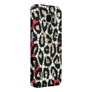 Red Black Cheetah Circle Abstract Samsung Galaxy S6 Cases