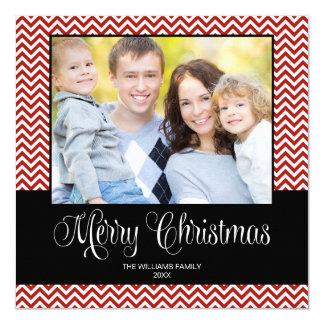 Red Black Chevron Christmas Square Photo Card
