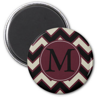 Red Black Chevron Monogram Magnet