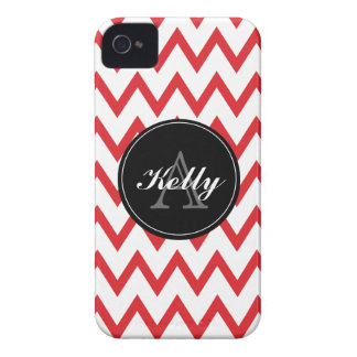 Red, Black Chevron Monogrammed iPhone 4/4s iPhone 4 Cover