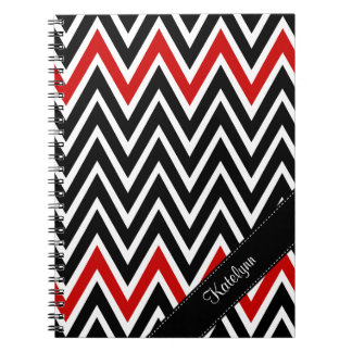 Red Black Chevron Personalized Spiral Notebook