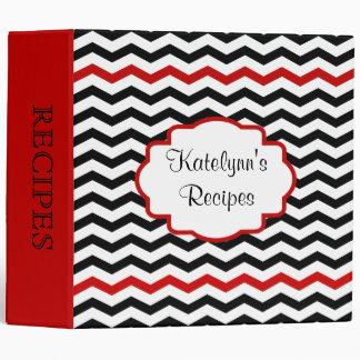 Red Black Chevron Stripes Custom Recipes Binder
