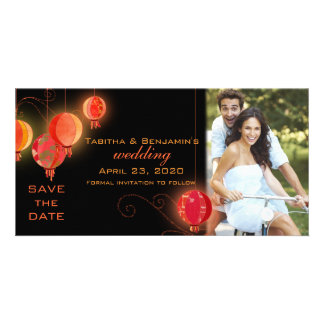 Red Black Chinese Lanterns Wedding Save the Date Photo Card