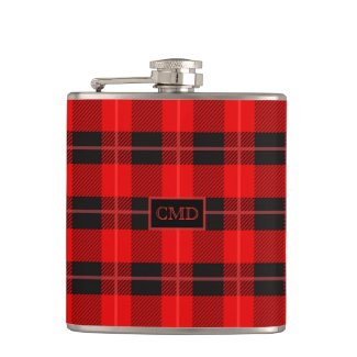 Red & Black Christmas Plaid Pattern Flasks