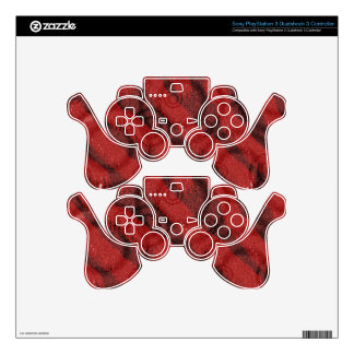 Red & Black Circles Point Design PS3 Controller Skins