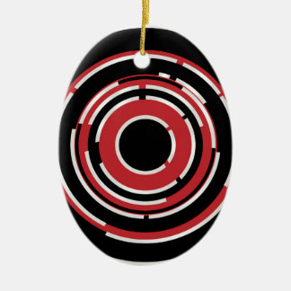 Red Black Circular Abstract Background Ceramic Ornament