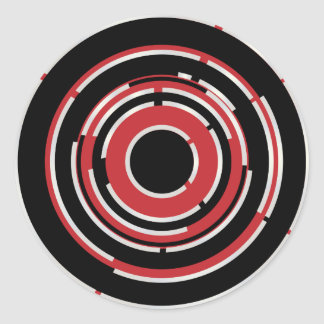 Red Black Circular Abstract Background Classic Round Sticker