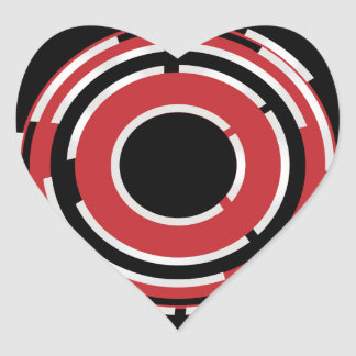 Red Black Circular Abstract Background Heart Sticker