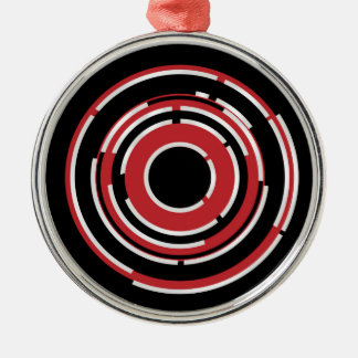 Red Black Circular Abstract Background Metal Ornament