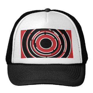 Red Black Circular Abstract Background Trucker Hat