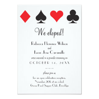 Red Black Classic Las Vegas Elopement Announcment Card