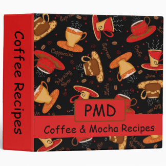 Red & Black Coffee Cup Pattern Mocha Recipe Album Binder