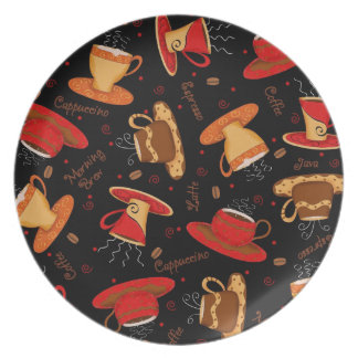 Red & Black Coffee Cup Pattern with Words Dinner Plate
