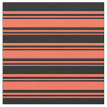 [ Thumbnail: Red & Black Colored Lined Pattern Fabric ]