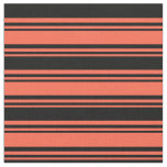 [ Thumbnail: Red & Black Colored Lined/Striped Pattern Fabric ]
