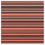 [ Thumbnail: Red & Black Colored Pattern of Stripes Fabric ]