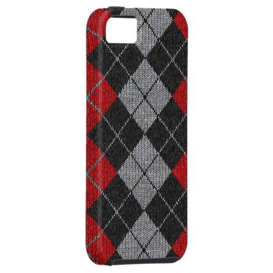 Red & Black Comfy Argyle Look iPhone 5 Case