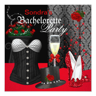 Red Black Corset Bachelorette Party Shoes Card