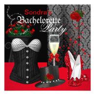 Red Black Corset Bachelorette Party Shoes Personalized Announcements