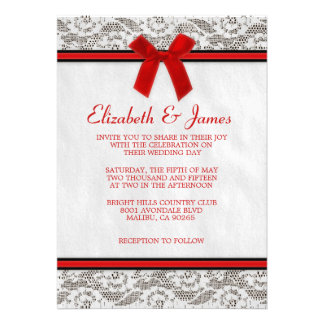 Red Black Country Lace Wedding Invitations Custom Invitations