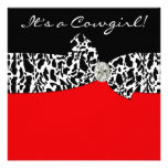 Red Black Cow Print Cowgirl Baby Shower Announcement
