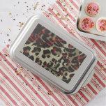 Red Black Cream Cheetah Abstract Cake Pan