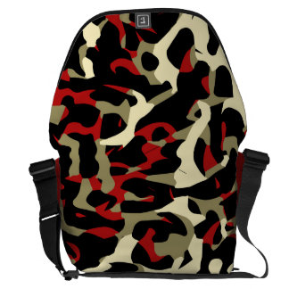 Red Black Cream Cheetah Abstract Courier Bag