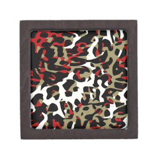 Red Black Cream Cheetah Abstract Gift Box
