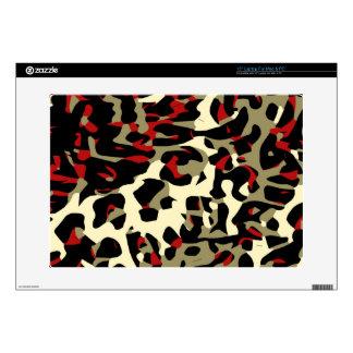 Red Black Cream Cheetah Abstract Laptop Skins