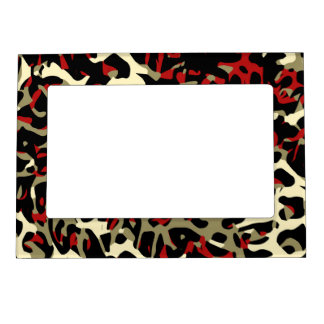 Red Black Cream Cheetah Abstract Magnetic Picture Frame