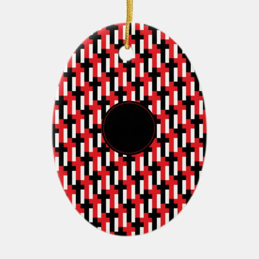 Red & Black Cross Pattern with customizable area Ceramic Ornament