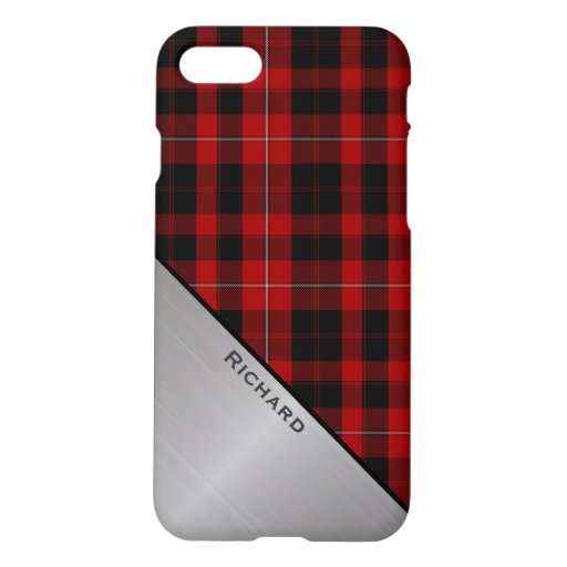 Red & Black Cunningham Plaid & Aluminum Look iPhone 8/7 Case