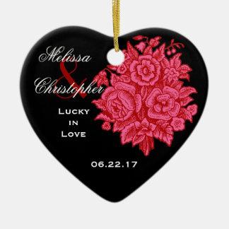 RED BLACK Custom Bride Groom Wedding Rose Bouquet Ceramic Ornament