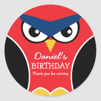 Red Black Cute Owl Birthday Party Sticker for Kids