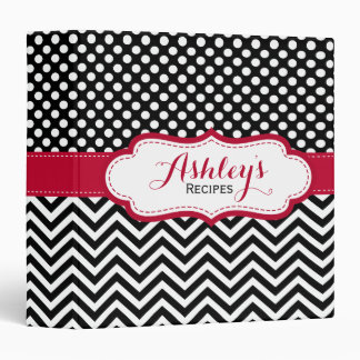 Red Black Cute Polka Dots Chevron Recipe Binder