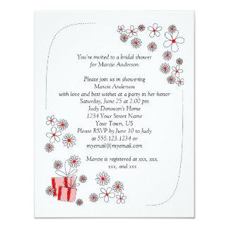 Red Black Daisies Bridal Shower Invite