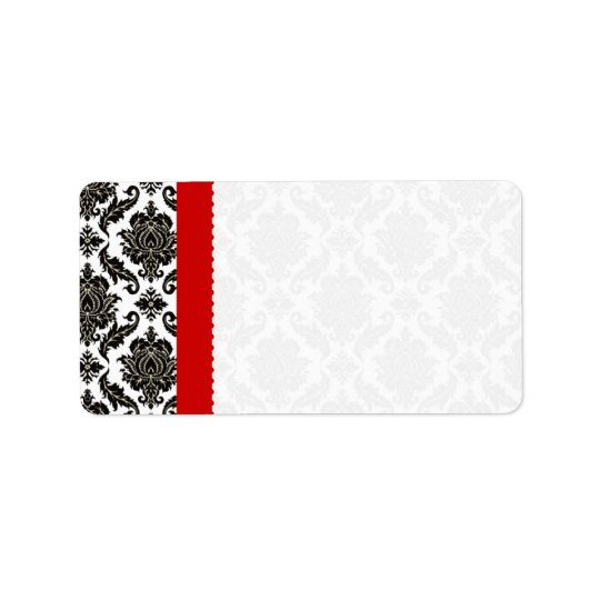 Red & Black Damask #1 Dots Shipping Label