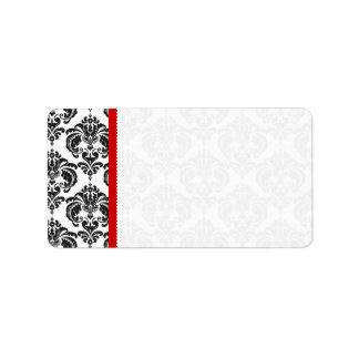 Red & Black Damask #4 Dots Shipping Label