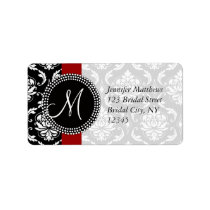 Red Black Damask Address Labels for Wedding