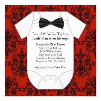 Red Black Damask Baby Boy Shower Custom Announcements