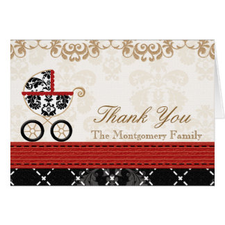 RED Black Damask Baby Carriage Shower Thank You Card