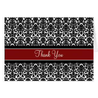 Red Black Damask Birthday Party Thank You Card