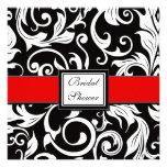 Red & Black Damask Bridal Shower Invitations