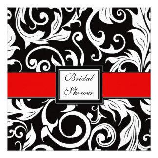 Red Black Damask Bridal Shower Invitations